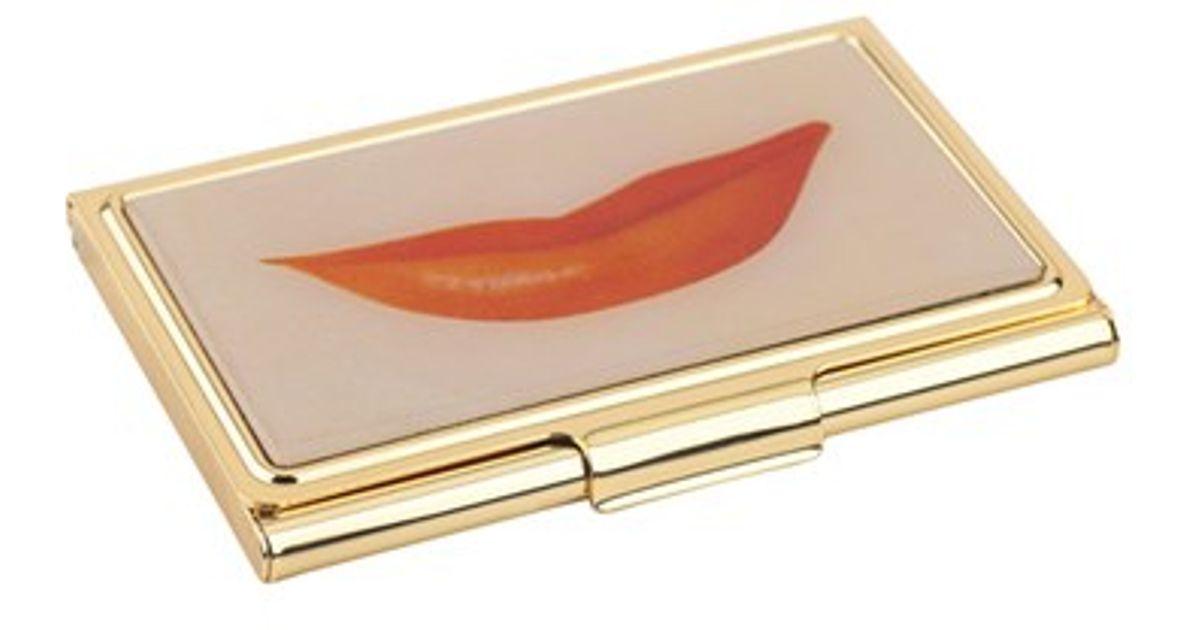 Kate Spade New York Lips Business Card Holder Metallic