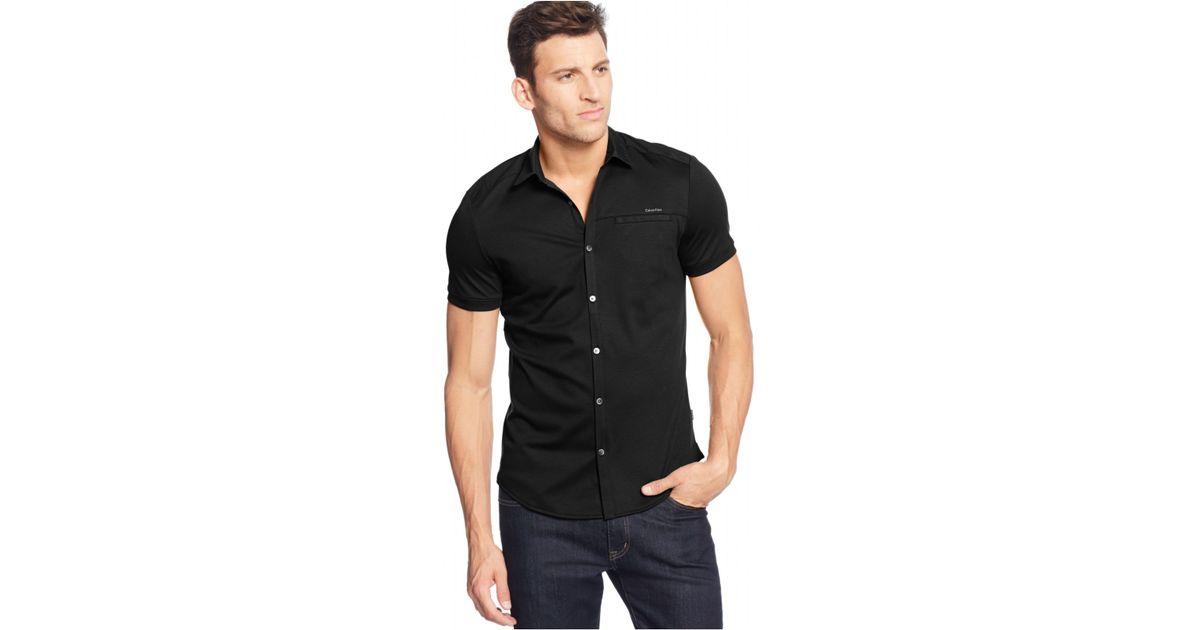 Lyst Calvin Klein Short Sleeve Coat Front Shirt In Black For Men