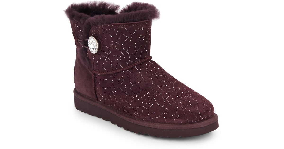 Lyst - UGG Mini Bailey Button Bling Constellation Shearling-lined Suede  Boots in Purple 54110383f2