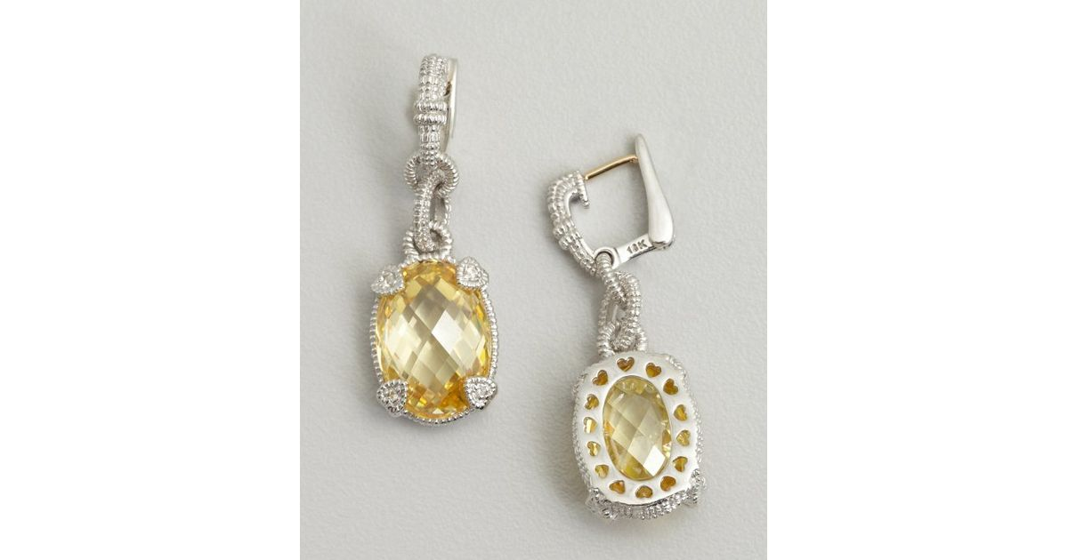 Lyst Judith Ripka Canary Crystal And Silver Oval Drop Earrings In Metallic