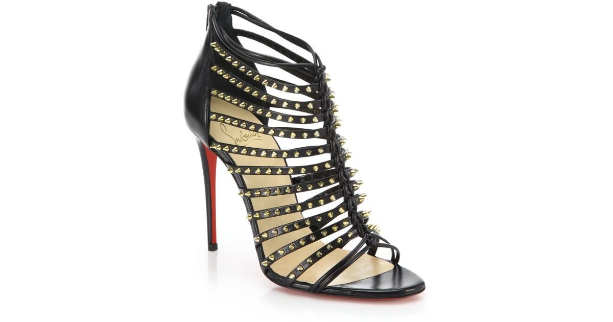 louboutin replica - Christian louboutin Millaclou Studded Leather Cage Sandals in ...
