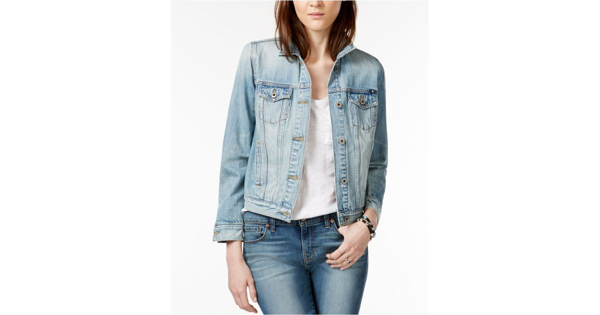 Lucky brand embroidered ambrose wash denim jacket in blue