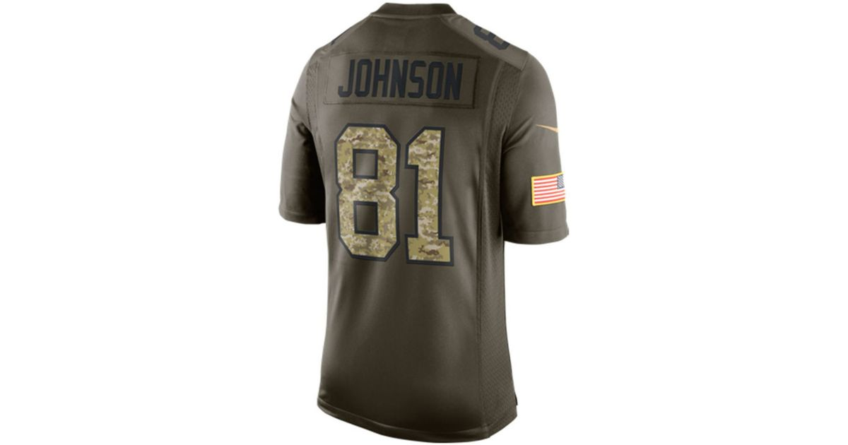 468af9660f7 Lyst - Nike Men s Calvin Johnson Detroit Lions Salute To Service Jersey in  Green for Men