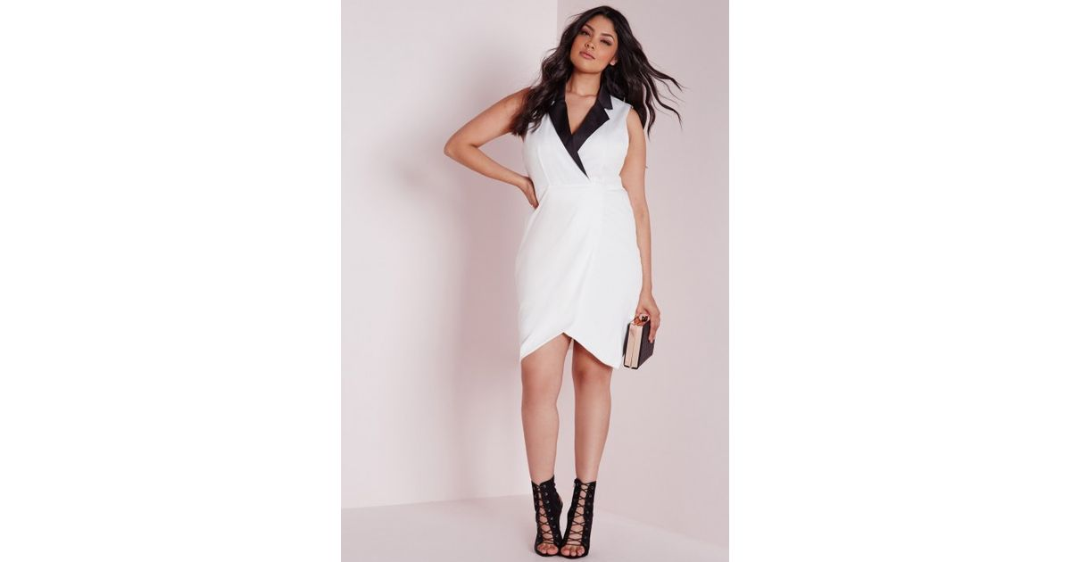 d60a13e7370a2 Lyst - Missguided Plus Size Collared Tuxedo Midi Dress White in White