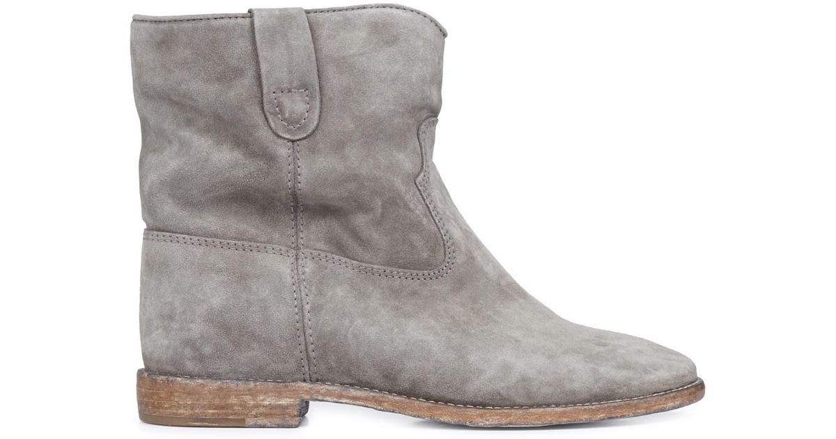 87d72b33ae6 Isabel Marant Crisi Taupe Suede Ankle Boots in Brown - Lyst