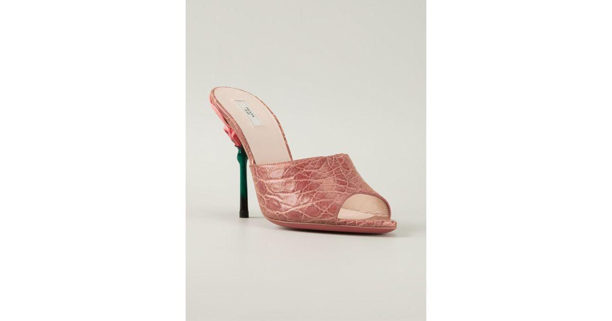 Lyst prada flower heel mules in pink mightylinksfo