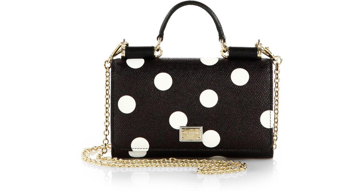 7162d94ce596 Lyst - Dolce   Gabbana Polka-Dot Mini Chain Crossbody Bag in Black