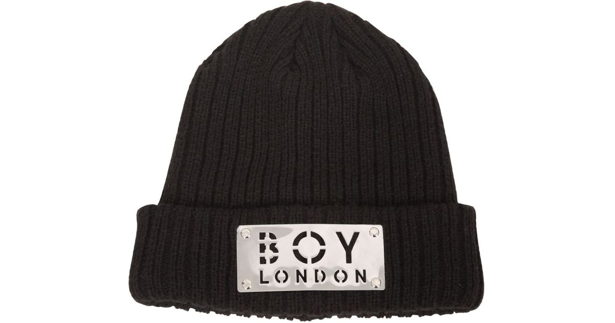 Lyst Boy London Plaque Wool Blend Knit Beanie Hat In Black For Men 565f2f8fc5f8