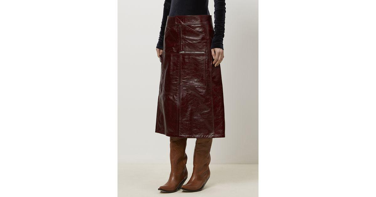 vetements burgundy tie back leather skirt in purple