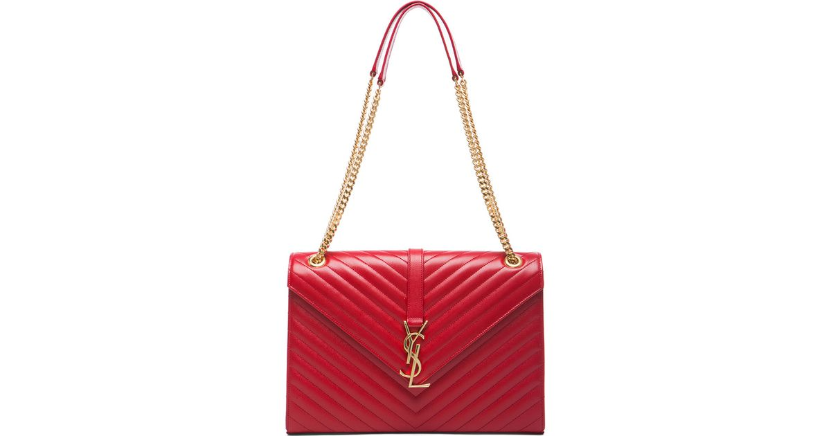 a423643f4fe Saint Laurent Large Monogram Envelope Chain Bag in Red - Lyst
