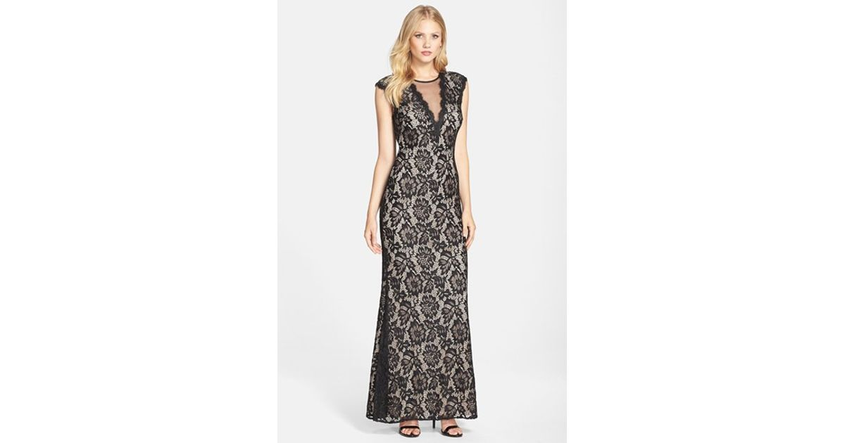 Lyst - Betsy & Adam Illusion V-neck Lace Trumpet Gown in Black