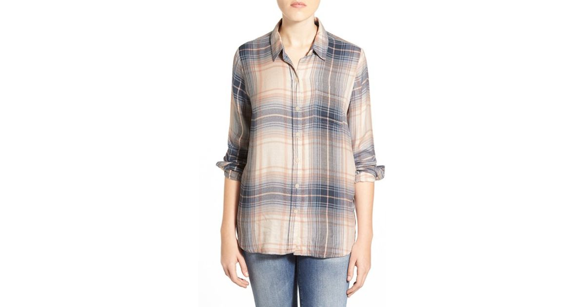 Lucky Brand Bungalow Plaid Lightweight Flannel Shirt In