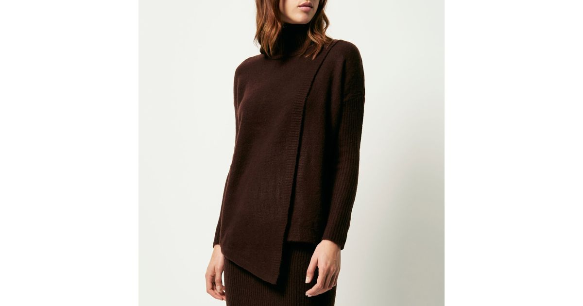 d79fbafc32f794 River Island Chocolate Brown Asymmetric Knitted Jumper Chocolate Brown  Knitted Midi Tube Skirt in Red - Lyst