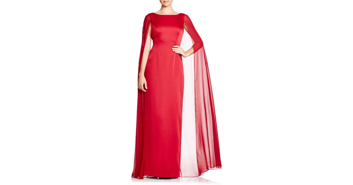 b5ad7aacf4494 Adrianna Papell Satin Chiffon Cape Gown in Red - Lyst