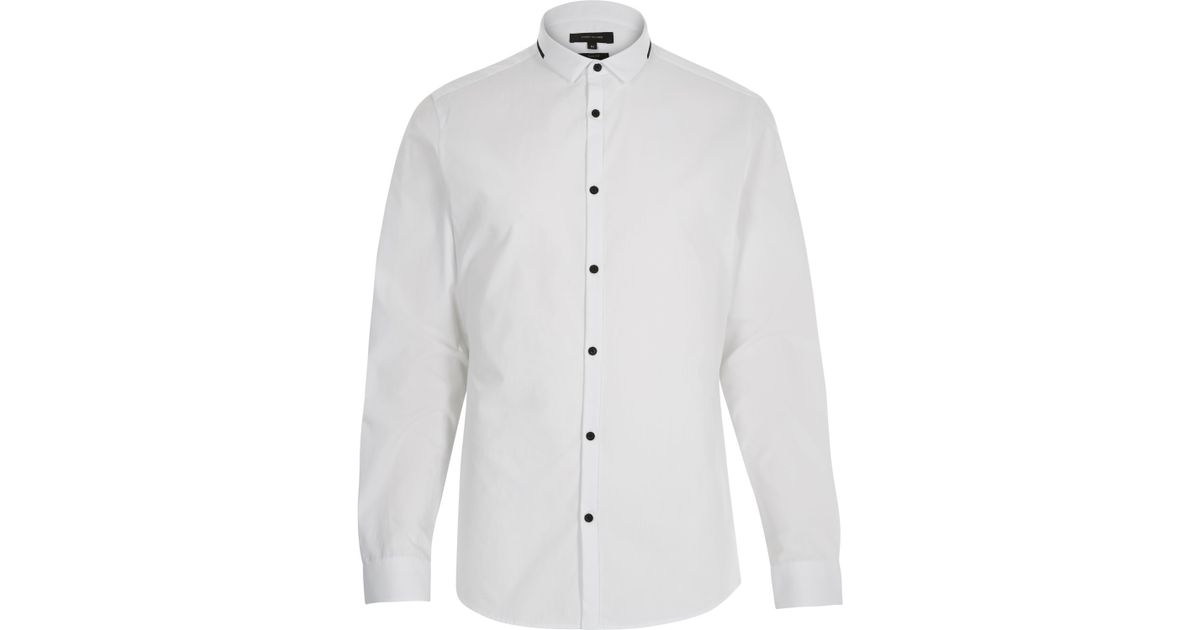 River island White Black Trim Collar Slim Shirt in White for Men ...
