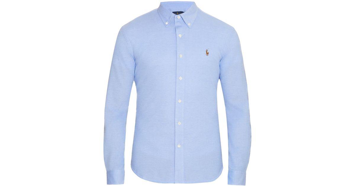 a06fd4aef69dd Lyst - Polo Ralph Lauren Button-down Collar Cotton-piqué Shirt in Blue for  Men