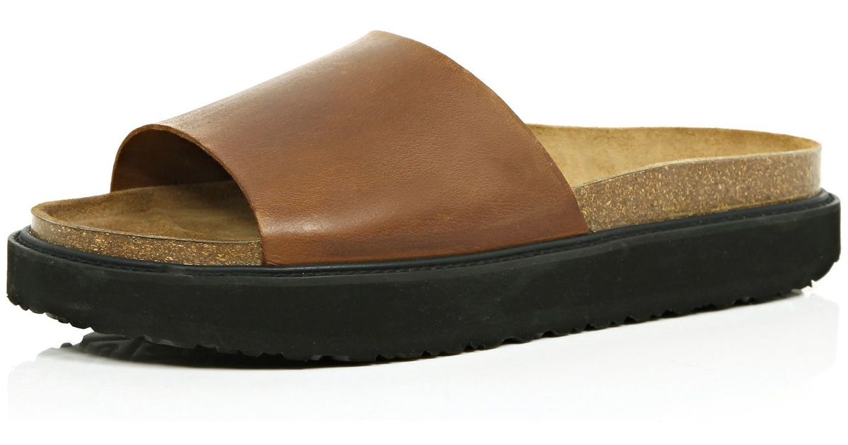b71a00ce8dc8 River Island Brown Leather Chunky Slide Sandals in Brown for Men - Lyst