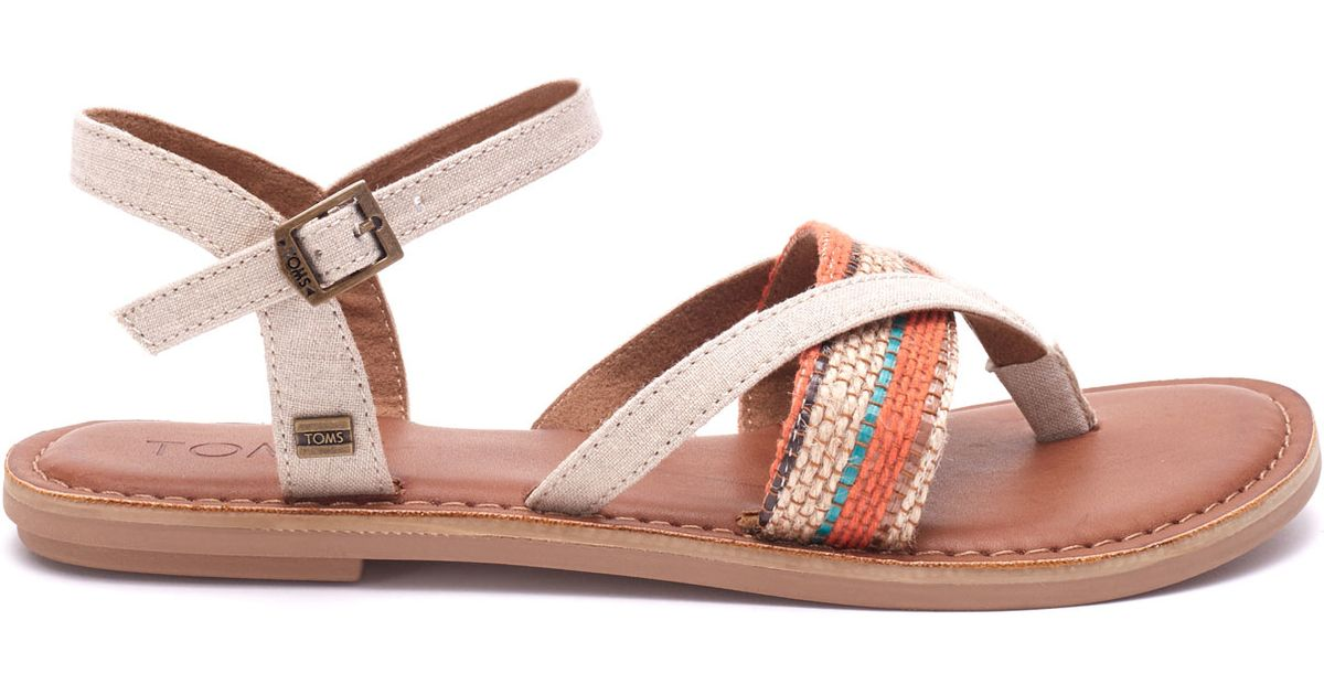 c97c14a8227a4 Lyst - TOMS Natural Multi Woven Stripe Women s Lexie Sandals in Natural