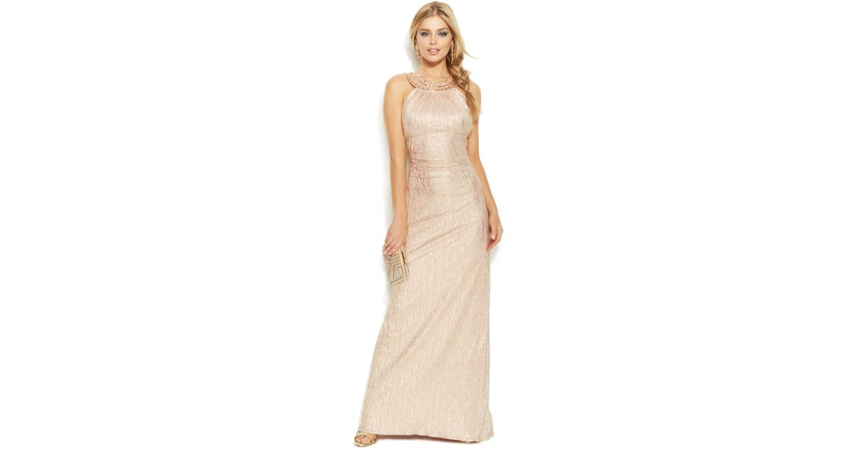 Lyst - Xscape Embellished Metallic Halter Gown in Pink