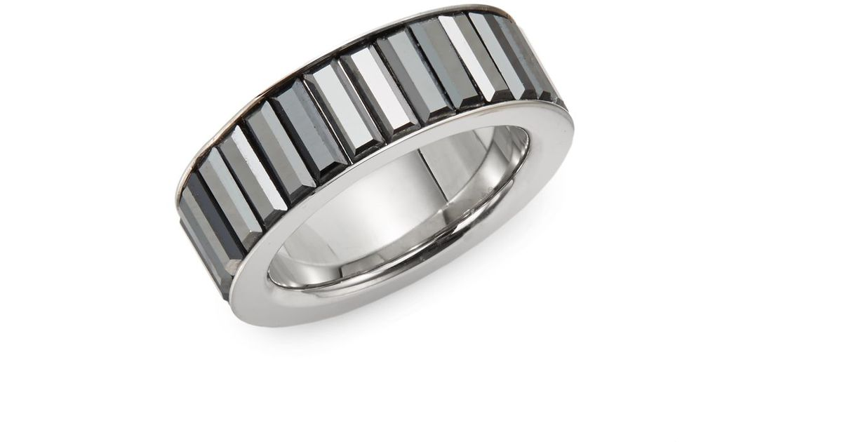 Lyst Swarovski Tace Jet Hematite Stainless Steel Ring in Metallic