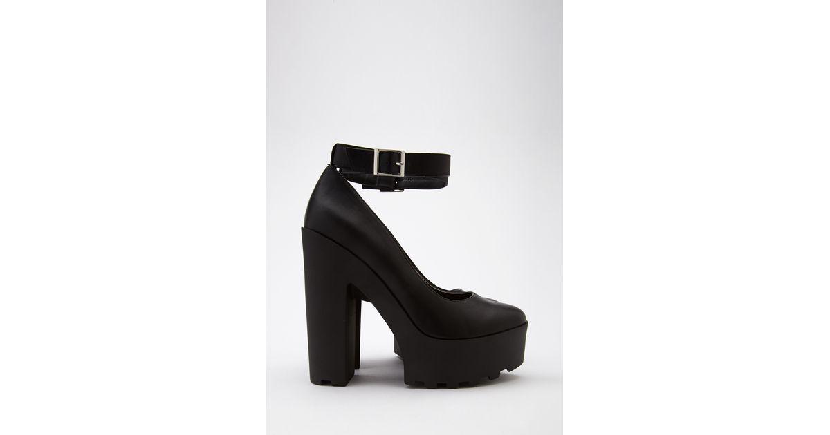 fd340378bc3 Lyst - Forever 21 Lug Sole Ankle Strap Platform Heels in Black