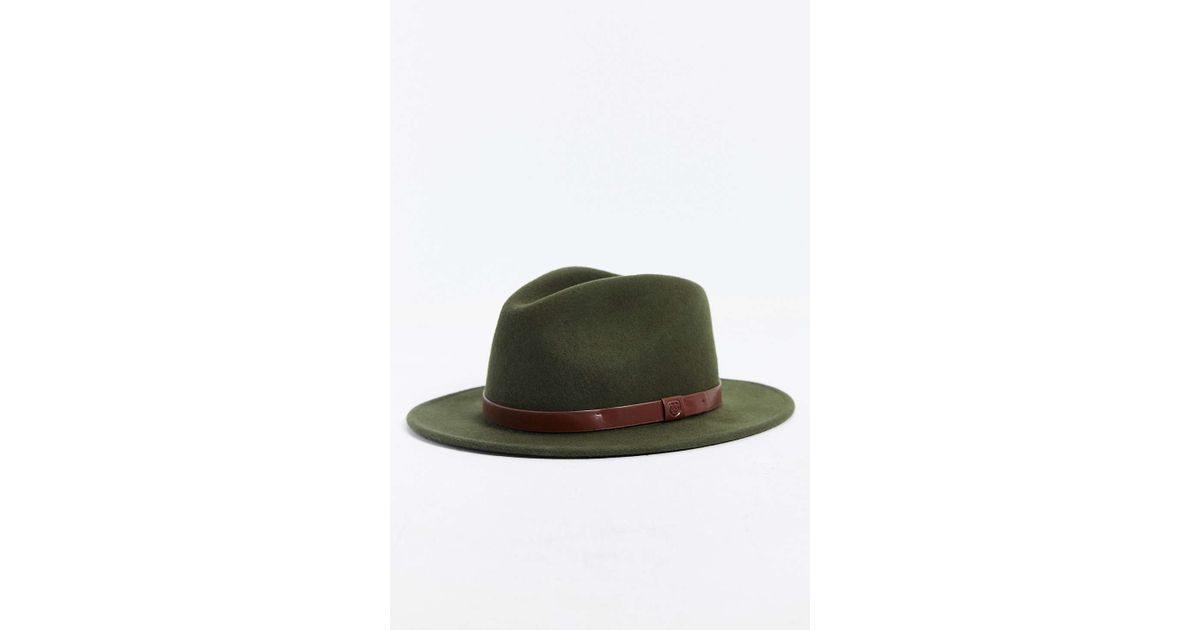 d82ac18349e Lyst - Brixton Messer Fedora Hat in Green for Men