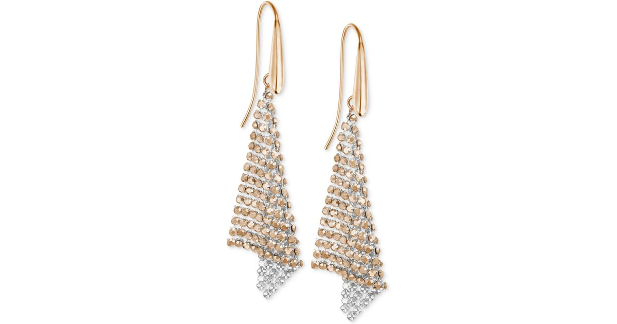 d9c6bd67dae972 Lyst - Swarovski Rose Gold-tone Crystal Mesh Drop Earrings in Pink