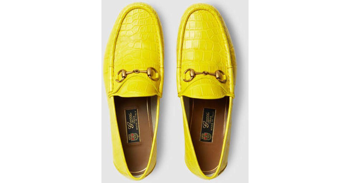 bcf8e43cbd99 Lyst - Gucci 1953 Horsebit Crocodile Loafer in Yellow for Men