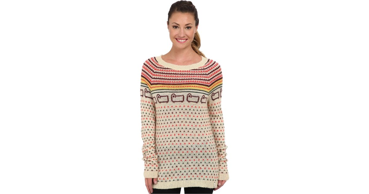 Woolrich Bateau Fairisle Mohair Sweater in Natural | Lyst