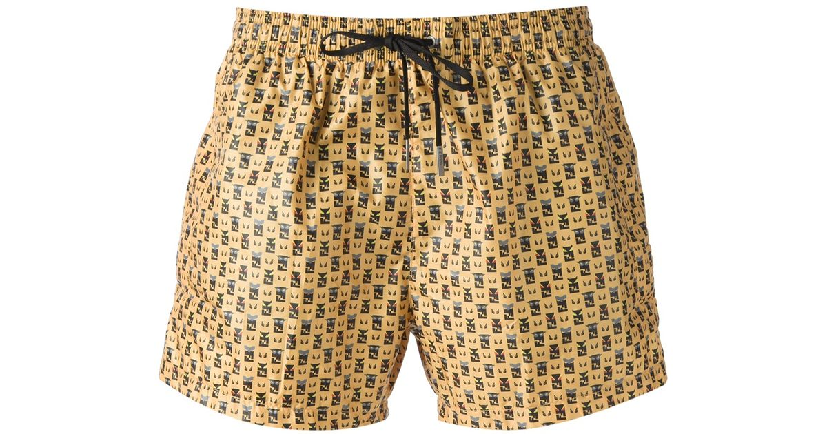 8dd8881636c4c Fendi Printed Swimming Shorts in Yellow for Men - Lyst