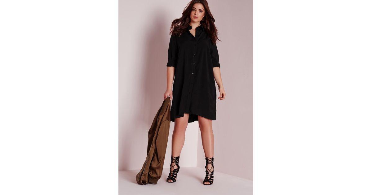 Lyst - Missguided Plus Size Shirt Dress Black in Black