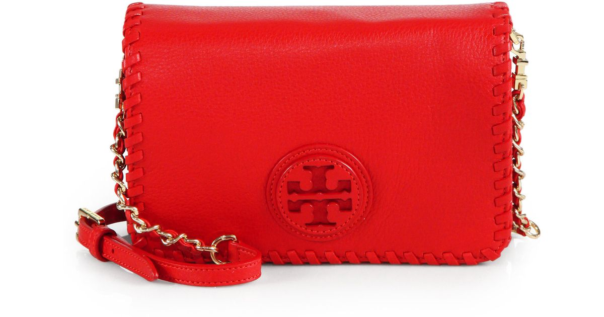 36f09de6878 Tory Burch Marion Combo Crossbody Bag in Red - Lyst