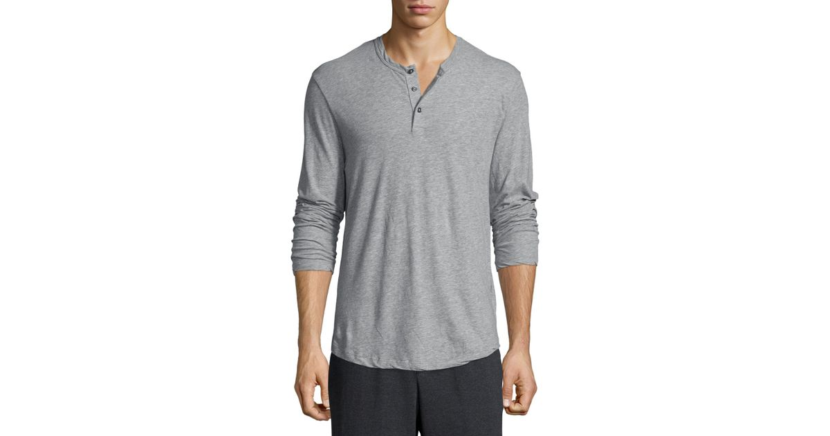 James Perse Long Sleeve Knit Henley Shirt In Gray For Men