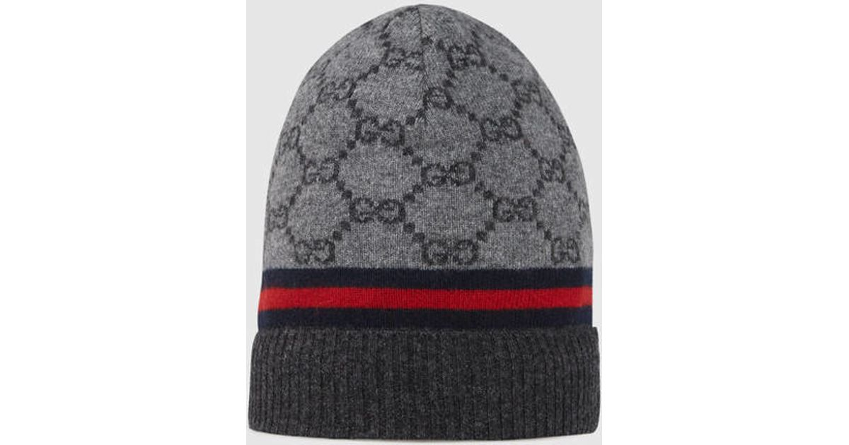 8dac26de Gucci Gg Pattern Hat With Web Detail in Gray for Men - Lyst
