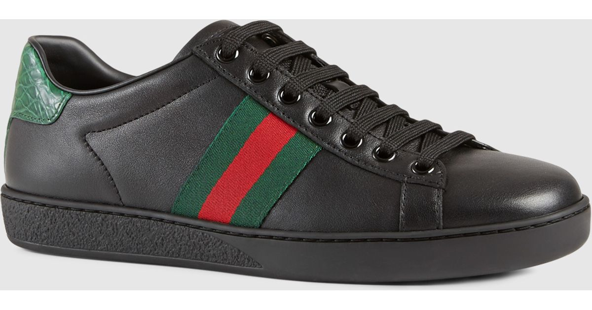 577d5cb0784 Gucci Leather Sneaker With Web Detail in Black - Lyst