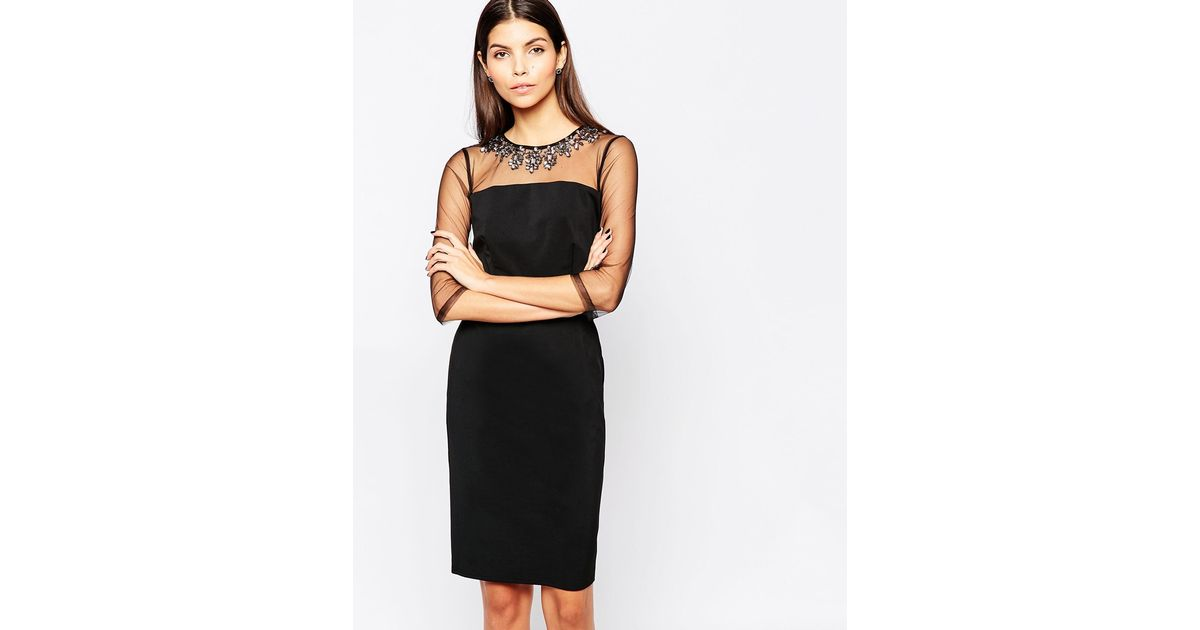Lyst Little Mistress Bodycon Dress With Mesh Sleeves And Neck