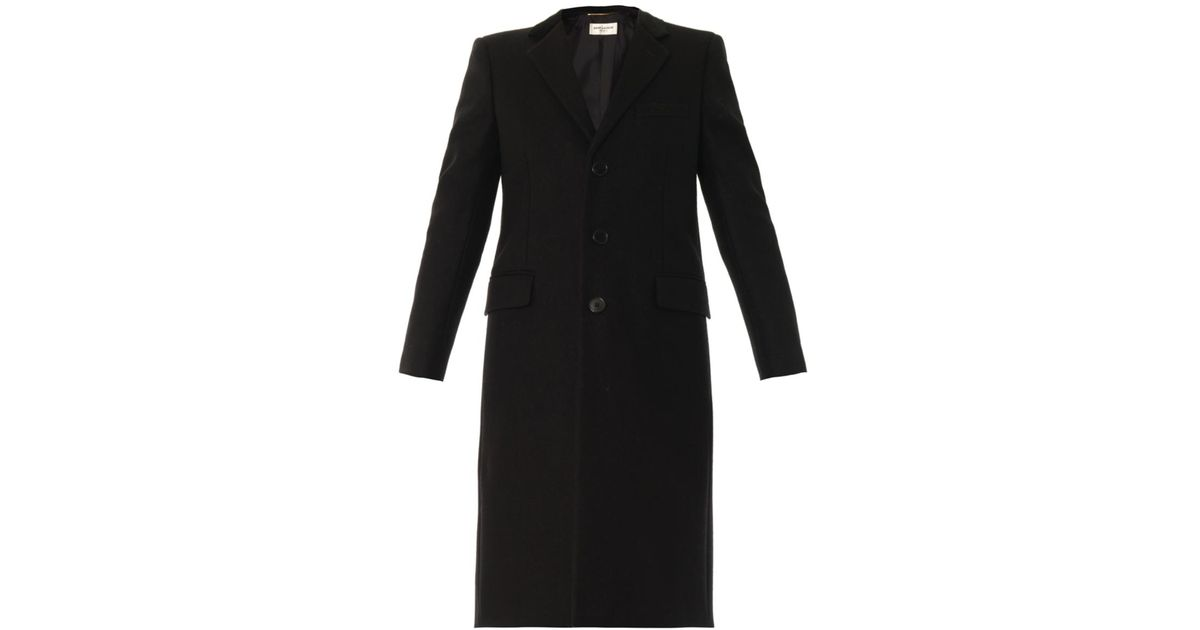 f453ef10496 Saint Laurent Single-breasted Chesterfield Coat in Black - Lyst