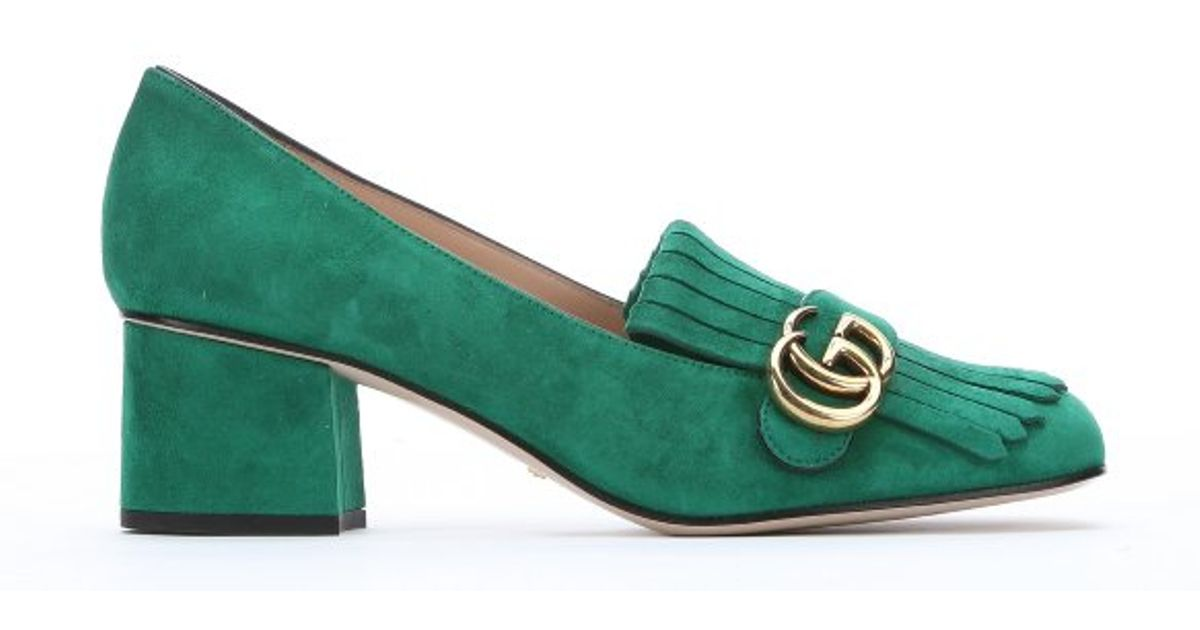 a8211a009fec Gucci Emerald Suede Fringe Detail Pumps in Green - Lyst