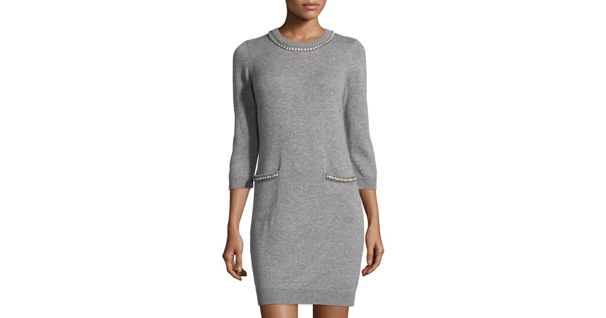 075a8440793 Lyst - MILLY Embellished-trim Long-sleeve Sweaterdress in Gray
