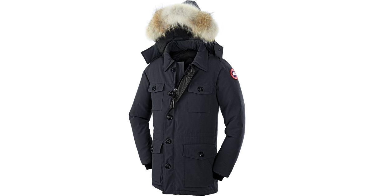 Canada Goose' Men's Banff Fur-Trimmed Puffer Coat - Dark Blue - Size L