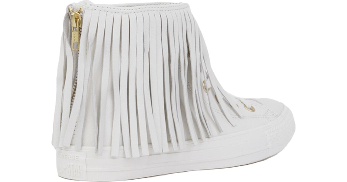 75bc23389a8c04 Lyst - Converse Women s Chuck Taylor All Star Fringe Hi Top Sneakers in  White