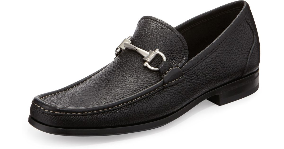 Lyst - Ferragamo Magnifico Textured Calfskin Gancini Loafer With Rubber  Sole in Black for Men