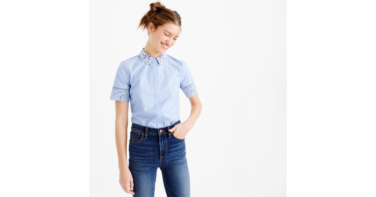 Thomas mason embroidered oxford shirt in french for French blue oxford shirt