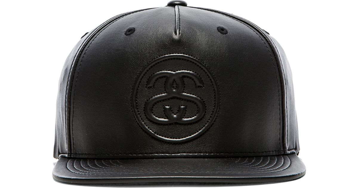 Lyst - Stussy 3D Ss Faux Leather Snapback in Black for Men 80aab972b04