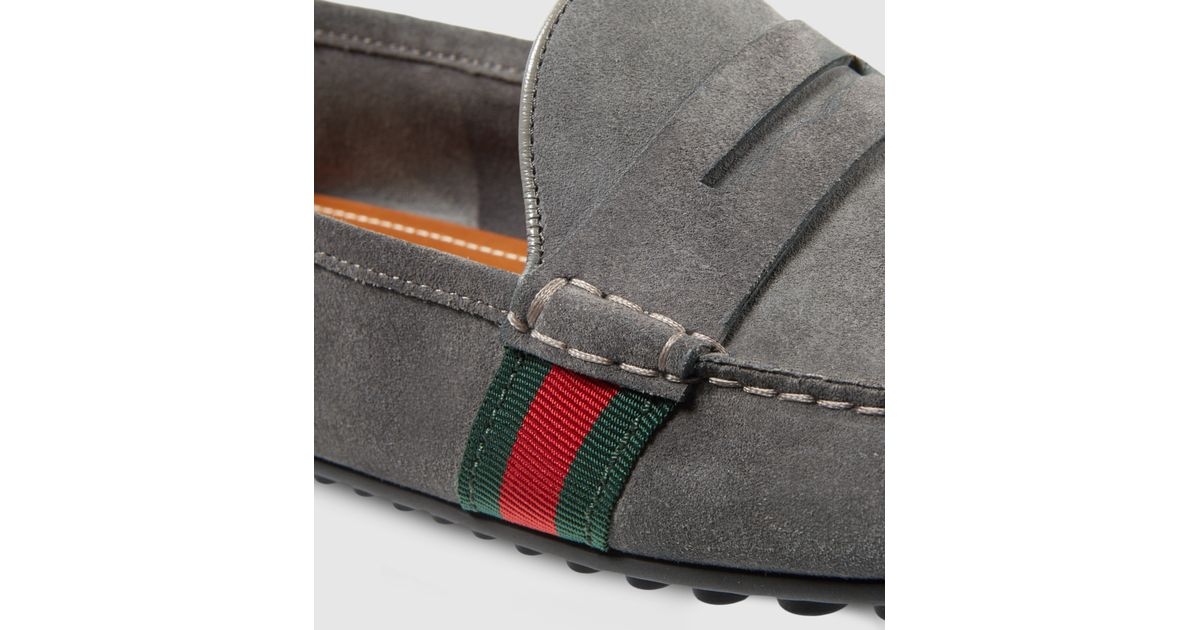 82b5fb32c Gucci Suede Driver With Web in Gray for Men - Lyst