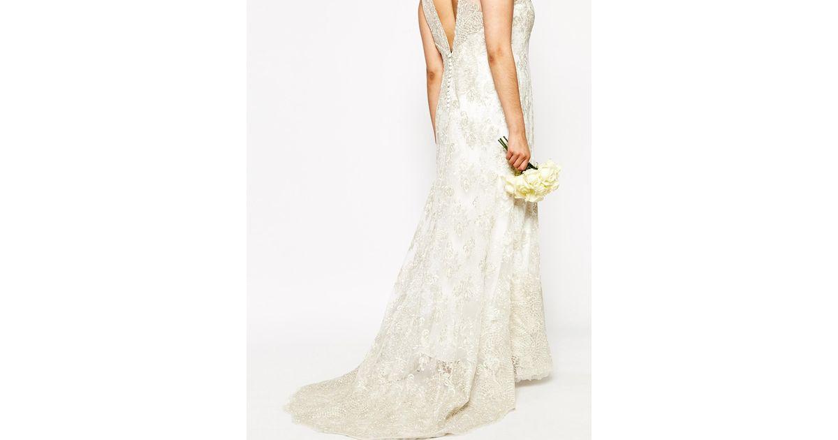 Asos curve bridal vintage lace button back fishtail maxi for Asos vintage wedding dresses