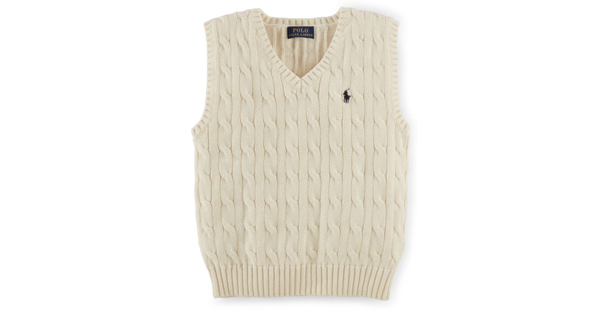 311e5941c397 Lyst - Ralph Lauren Cable-Knit Cotton Sweater Vest in Natural