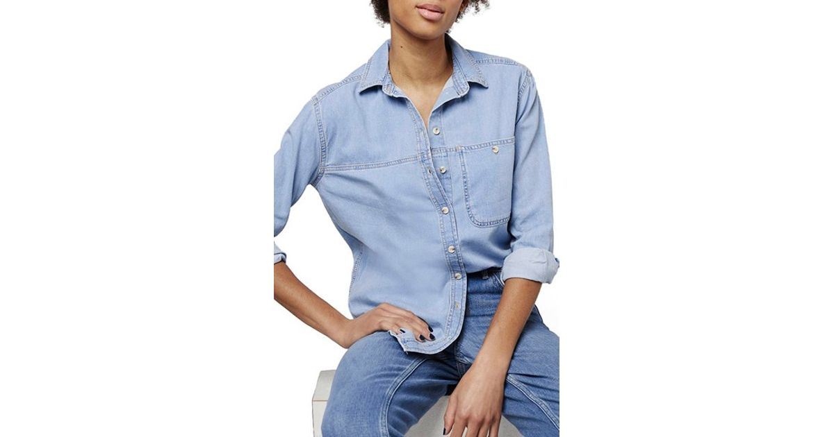 Topshop 'elton' Bleach Denim Shirt in Blue