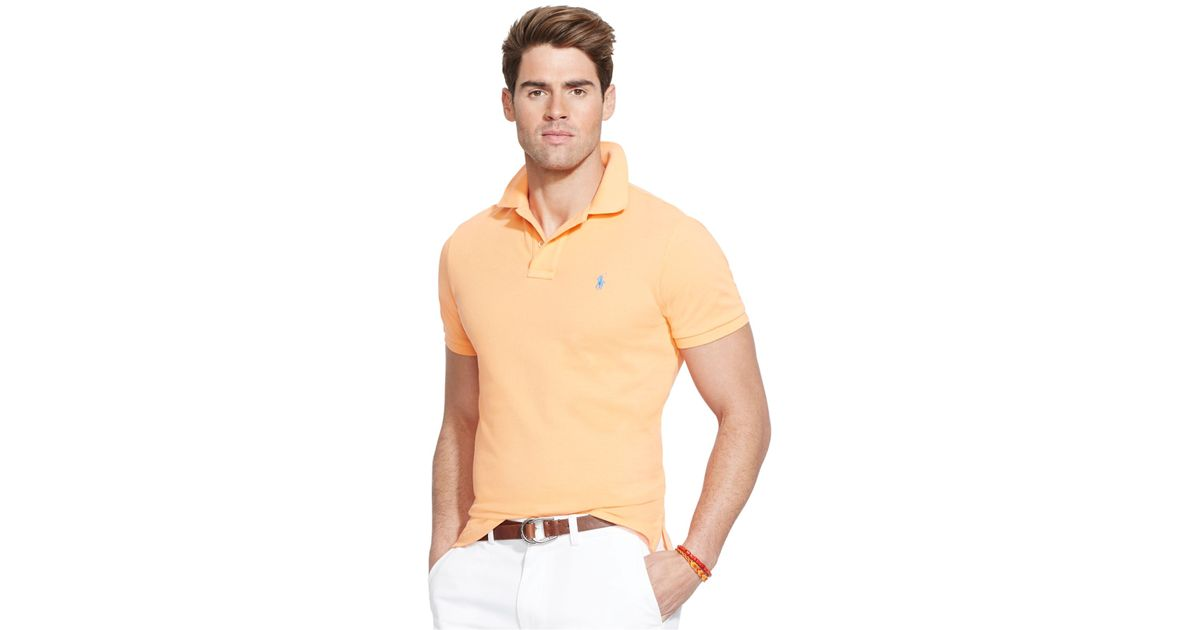 701e457d ... top quality lyst polo ralph lauren custom fit mesh polo shirt in orange  for men 97513