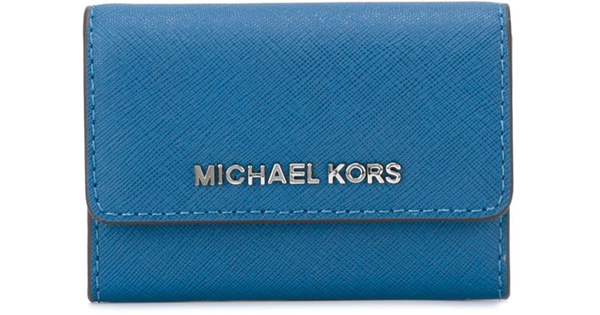 ac798fe5fb3c MICHAEL Michael Kors Logo Business Card Holder in Blue for Men - Lyst